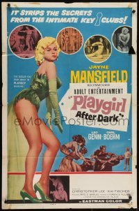 4s746 PLAYGIRL AFTER DARK style B 1sh 1962 full-length art of sexiest Jayne Mansfield!