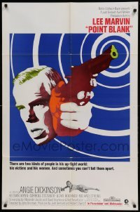 4s749 POINT BLANK 1sh 1967 cool art of Lee Marvin, Angie Dickinson, John Boorman film noir!