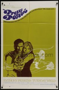 4s755 PRETTY POISON style A 1sh 1968 psycho Anthony Perkins & crazy Tuesday Weld!