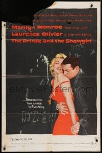 4s760 PRINCE & THE SHOWGIRL 1sh 1957 Laurence Olivier nuzzles sexy Marilyn Monroe's shoulder!