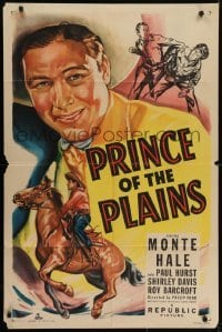 4s761 PRINCE OF THE PLAINS 1sh 1949 art of cowboy Monte Hale close up & riding his horse!