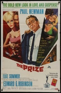4s762 PRIZE 1sh 1963 Howard Terpning art of Paul Newman in suit and tie & sexy Elke Sommer!