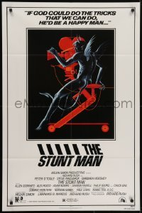 4s885 STUNT MAN 1sh 1980 Peter O'Toole, cool artwork of demon working movie camera!
