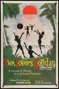 4s889 SUN LOVERS' HOLIDAY 1sh 1960 a retreat to nature in a secluded paradise, girls on beach!