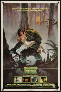 4s891 SWAMP THING NSS style 1sh 1982 Wes Craven, Hescox art of him holding sexy Adrienne Barbeau!