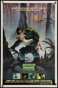 4s892 SWAMP THING studio style 1sh 1982 Wes Craven, Richard Hescox art holding Adrienne Barbeau!