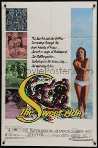 4s896 SWEET RIDE 1sh 1968 1st Jacqueline Bisset standing topless in bikini, cool surfing art!