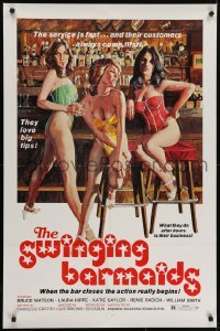4s898 SWINGING BARMAIDS 1sh 1975 super sexy art by John Solie, x-rated, The Swinging Barmaids!