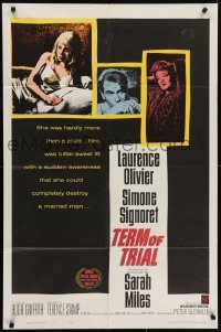 4s908 TERM OF TRIAL 1sh 1962 teacher Laurence Olivier has an affair w/youngest girl in his class!