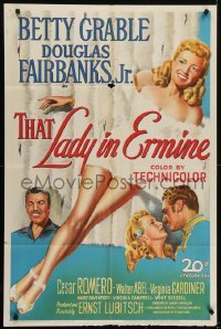 4s911 THAT LADY IN ERMINE 1sh 1948 Betty Grable & Douglas Fairbanks Jr. and... Virginia Gardiner?