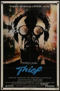 4s912 THIEF 1sh 1981 Michael Mann, really cool image of James Caan w/goggles!