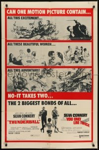 4s920 THUNDERBALL/YOU ONLY LIVE TWICE 1sh 1971 Sean Connery's two biggest James Bonds of all!