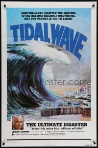 4s921 TIDAL WAVE 1sh 1975 artwork of the ultimate disaster in Tokyo by John Solie!