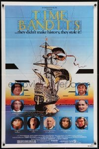 4s923 TIME BANDITS 1sh 1981 John Cleese, Sean Connery, art by director Terry Gilliam!