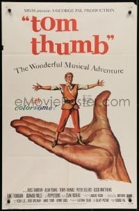 4s927 TOM THUMB 1sh 1958 George Pal, great artwork of tiny Russ Tamblyn by Reynold Brown!