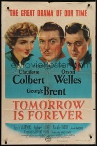 4s928 TOMORROW IS FOREVER style A 1sh 1945 Orson Welles, Claudette Colbert & George Brent!