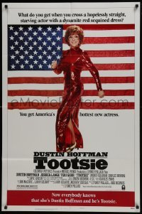 4s929 TOOTSIE style B 1sh 1982 great full-length image of Dustin Hoffman in drag by American flag!