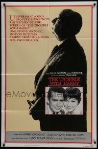 4s931 TROUBLE WITH HARRY 1sh R1983 Alfred Hitchcock profile, c/u of Forsythe & Shirley MacLaine!