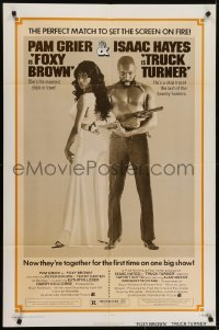 4s933 TRUCK TURNER/FOXY BROWN 1sh 1974 blaxploitation double-bill, Pam Grier & Isaac Hayes!