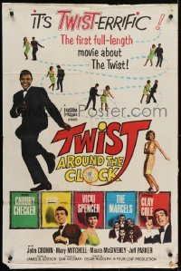 4s936 TWIST AROUND THE CLOCK 1sh 1962 Chubby Checker in the first full-length Twist movie!