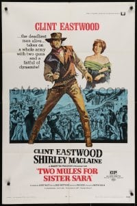 4s937 TWO MULES FOR SISTER SARA 1sh 1970 art of gunslinger Clint Eastwood & Shirley MacLaine!