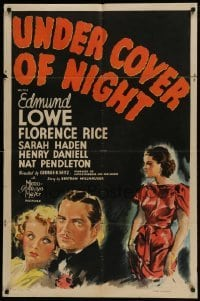 4s940 UNDER COVER OF NIGHT 1sh 1937 Edmund Lowe, Florence Rice, Nat Pendleton, murder mystery!
