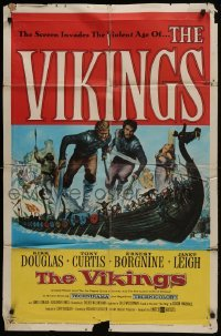 4s951 VIKINGS 1sh 1958 art of Kirk Douglas, Tony Curtis & sexy Janet Leigh on long ship!