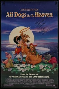 4t020 ALL DOGS GO TO HEAVEN signed DS 26x40 1sh 1989 by director Don Bluth, cute art of dogs & girl!