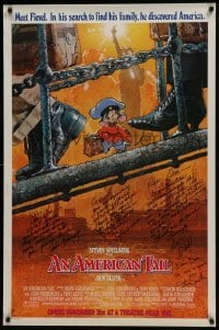 4t021 AMERICAN TAIL signed advance 1sh 1986 by Steven Spielberg, Don Bluth, Goldman, AND Pomeroy!