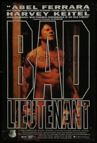 4t022 BAD LIEUTENANT signed 1sh 1992 by director Abel Ferrara, huge close up of nude Harvey Keitel!