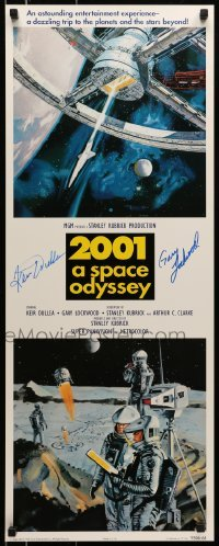 4t054 2001: A SPACE ODYSSEY signed 14x36 commercial poster 1995 by Gary Lockwood AND Keir Dullea!