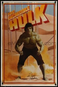 4t056 LOU FERRIGNO signed 23x35 commercial poster 1990s great image of The Incredible Hulk!