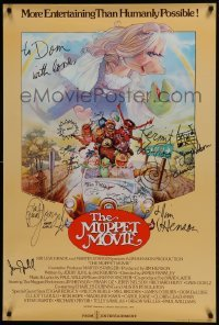 4t038 MUPPET MOVIE signed English 1sh 1979 by Jim Henson, Frank Oz & FOUR other cast & many muppets!