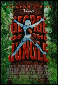 4t028 GEORGE OF THE JUNGLE signed DS 1sh 1997 by Brendan Fraser, who didn't watch out for that tree!
