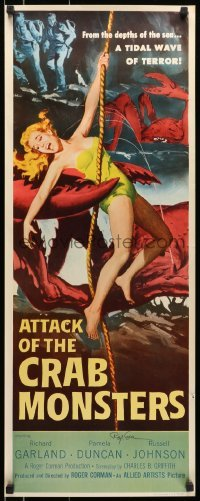 4t001 ATTACK OF THE CRAB MONSTERS signed insert 1957 by Roger Corman, art of monster & sexy girl!