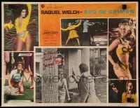 4t073 FLAREUP signed Mexican LC 1970 by James Stacy, who's pointing gun at scared Raquel Welch!