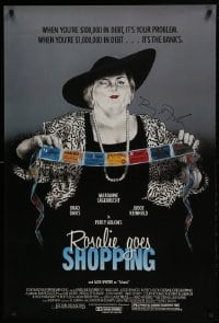 4t043 ROSALIE GOES SHOPPING signed 1sh 1990 by director Percy Adlon, art of Marianne Sagebrecht!