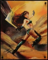 4t058 BRINKE STEVENS signed 16x20 special poster 1995 sexy fantasy art of her by Julie Bell!