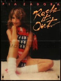 4t015 PIA ZADORA signed 22x29 music poster 1984 sexy nude portrait wearing only a scarf!