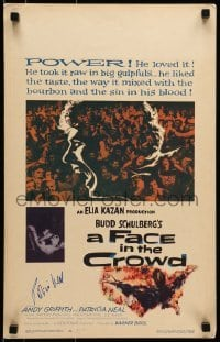 4t065 FACE IN THE CROWD signed WC 1957 by Patricia Neal, who starred with Andy Griffith, Elia Kazan