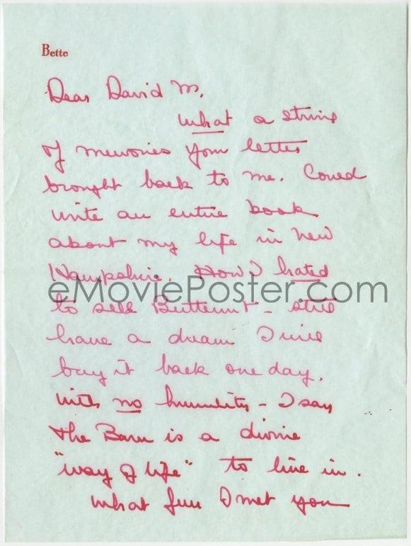 eMoviePoster com: 4t170 BETTE DAVIS signed letter 1962 three