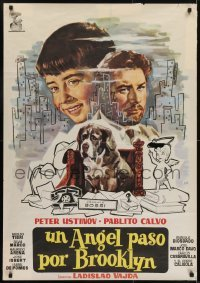 4y095 MAN WHO WAGGED HIS TAIL Spanish 1961 Un Angelo e scesco a Brooklyn, Peter Ustinov, Jano art!
