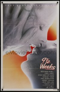 4z049 9 1/2 WEEKS 1sh 1986 Mickey Rourke, Kim Basinger, sexiest close up kissing image!