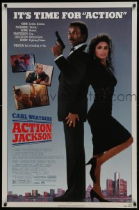 4z055 ACTION JACKSON 1sh 1988 Carl Weathers, Craig T. Nelson, Sharon Stone, sexy Vanity!