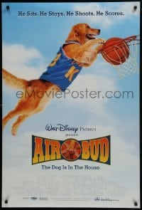4z061 AIR BUD DS 1sh 1997 great image of the Walt Disney basketball playing dog slam dunking!