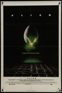 4z067 ALIEN 1sh 1979 Ridley Scott outer space sci-fi monster classic, cool egg image!