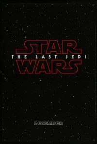 4z036 LAST JEDI DS teaser 1sh 2017 black style, Star Wars, Hamill, classic title treatment in space!