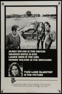 4z928 TWO-LANE BLACKTOP 1sh 1971 James Taylor is the driver, Warren Oates is GTO, Laurie Bird