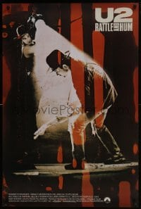4z930 U2 RATTLE & HUM 1sh 1988 great image of rockers Bono & The Edge performing on stage!