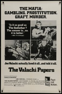 4z943 VALACHI PAPERS style C 1sh 1972 Young directed, corpse in barber's chair & mob family tree!